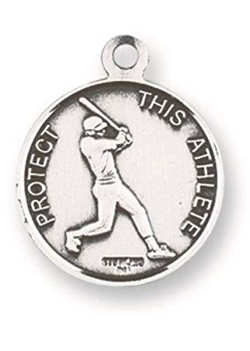 H&M Saint Rita Sports Medal 15/16 Inch Sterling Silver Baseball Pendant
