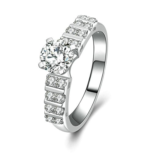 [Women Wedding Rings Silver Plated Solitaire CZ Personalized Rings Custom Made Size 11 by Aienid] (Holiday On Ice Costumes For Sale)