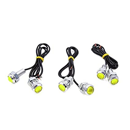 eDealMax 6pcs 18mm lente del proyector de Eagle Eye lámpara del coche Amarillo COB LED DRL