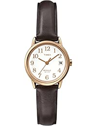 Timex T2P564GP Classic Women's Easy Reader Rose Gold Case White Dial and Brown Leather Strap Wrist Watch