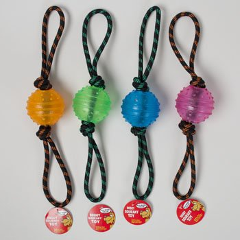 DOG TOY ROPE CHEW WITH 3 INCH TPR BALL 4 COLORS IN PDQ, Case Pack of 44