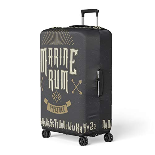 Pinbeam Luggage Cover Nautical Handcrafted Marine Typeface Arrows and Ribbon Label Travel Suitcase Cover Protector Baggage Case Fits 18-22 inches