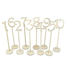 OULII Wedding Table Number Holders with Holder Base 1-10,10pcs(Wood Color)