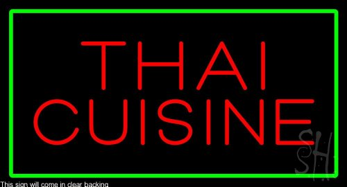 Thai Cuisine Rectangle Green Clear Backing Neon Sign 20'' Tall x 37'' Wide by The Sign Store