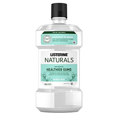 Listerine Naturals Antiseptic Mouthwash, Fluoride-Free Oral Care To Prevent Bad Breath, Plaque Build-Up and Gingivitis Gum Disease, Herbal Mint, 500 mL from Listerine