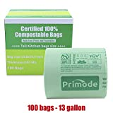 Primode 100% Compostable Bags 13 Gallon, Tall