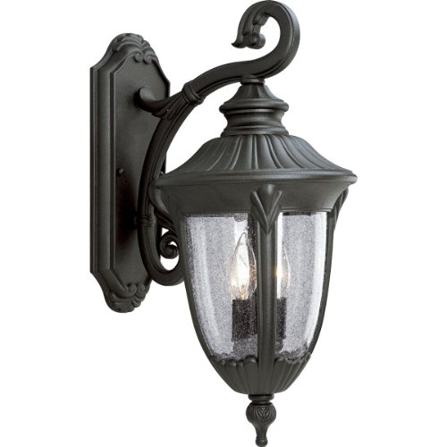 Progress Lighting P5822-31 Cast Aluminum Wall Lantern with Clear Seeded Glass, Textured Black