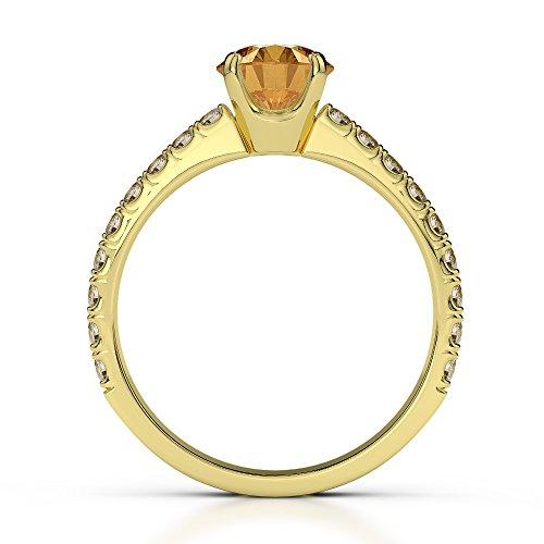 Or jaune 18carats 1CT G-H/VS sertie de diamants ronds Cut Citrine et bague de fiançailles Agdr-1201