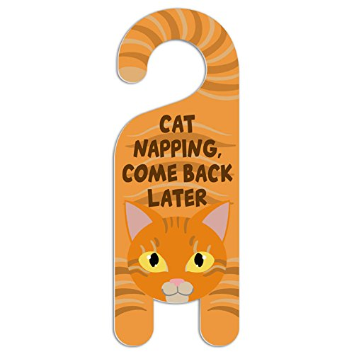 Graphics and More Orange Cat Do Not Disturb Plastic Door Knob Hanger Sign - Cat Napping, Come Back Later