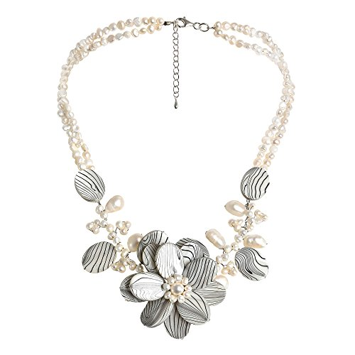 AeraVida Triple Flower Zebra Mother of Pearl and Cultured Freshwater Pearl Strand Necklace