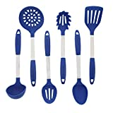 Blue Kitchen Utensil Set - Stainless Steel & Silicone Heat Resistant Professional Cooking Tools - Spatula , Mixing & Slotted Spoon , Ladle , Pasta Fork Server , Drainer - Bonus Ebook!