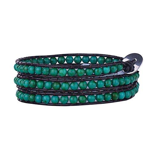 Babao Bijoux Turquoise pierre naturelle Perles Bracelet en cuir 3Wraps Perle 4mm