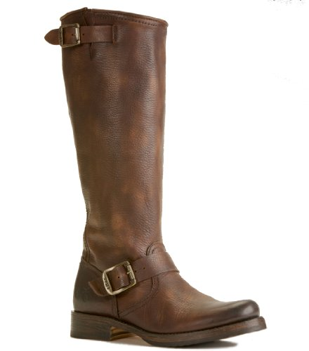 FRYE Women's Veronica Slouch Boot, Dark Brown Calf Shine Vintage Leather, 5.5 M US by FRYE
