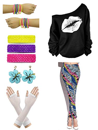 Womens Off Shoulder Lips Print Sweatshirt 1980s Themed Costume Accessories (2X-Large, 02#)