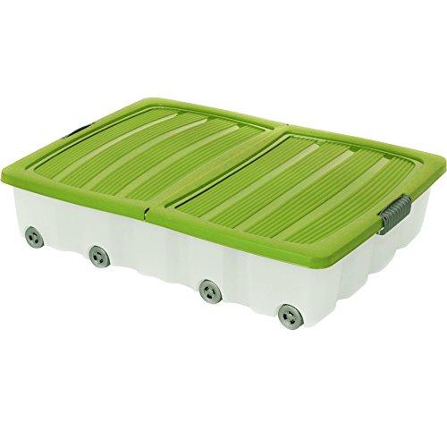 Unterbettkommode Grün 60l Rollbox Räder Unterbettbox Spielzeugkiste