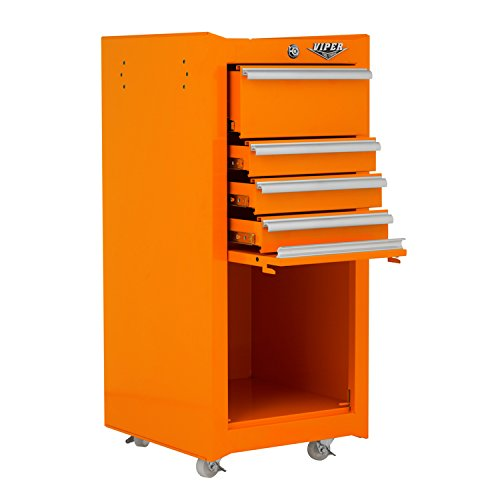 Viper Tool Storage V1804ORR 16-Inch 4-Drawer 18G Steel Rolling Tool / Salon Cart, with Bulk Storage, Orange by Viper Tool Storage