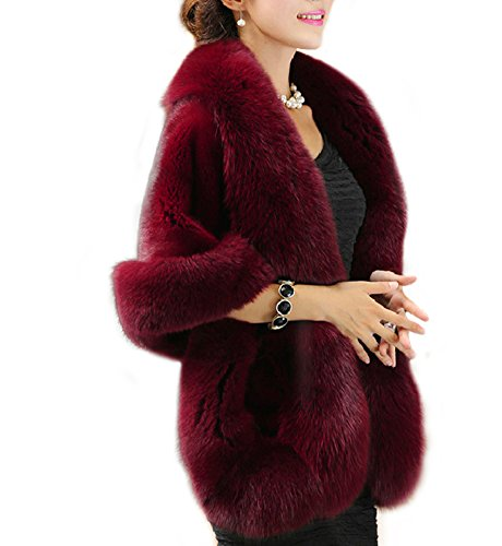 Women's Winter Faux Fur Wedding Bride Wrap Shawl Cape Cloak Evening Jacket PS37 Burgundy ()