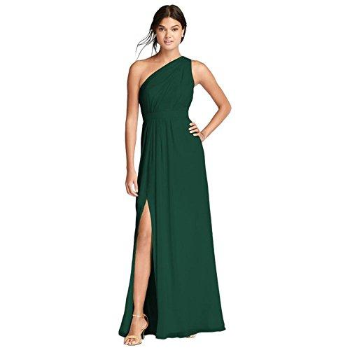 David's Bridal Long One-Shoulder Crinkle Chiffon Bridesmaid Dress Style F18055, Juniper, 14 - Juniper Green Apparel