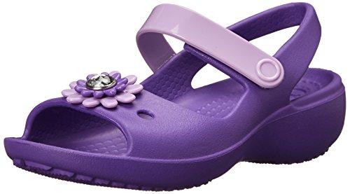 crocs Keeley Mini Wedge Girls PS Sandal (Toddler/Little Kid),Neon Purple/Iris,5 M US Toddler