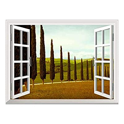 Pretty Visual, That You Will Love, Removable Wall Sticker Wall Mural Tuscan Countryside with Cypress and Meadow Creative Window View Wall Decor