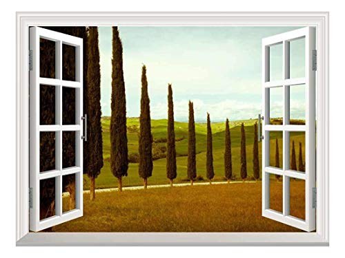 wall26 Removable Wall Sticker/Wall Mural - Tuscan Countryside with Cypress and Meadow | Creative Window View Wall Decor - 36