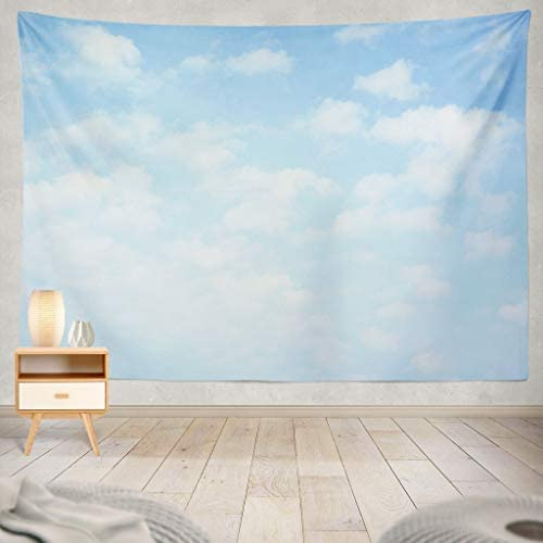 Light Blue Tapestry, Sky with Clouds Cloud Heaven Spring Summer Horizontal Sunny Peace Backdrop Day Nature Decorative Tapestry,60X80 Inches Wall Hanging Tapestry for Bedroom Living Room