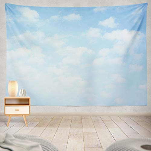 KJONG Light Blue Sky with Clouds Sky Cloud Heaven Blue Spring Summer Light Horizontal Sunny Peace Backdrop Day NatureDecorative Tapestry,60X80 Inches Wall Hanging Tapestry for Bedroom Living Room