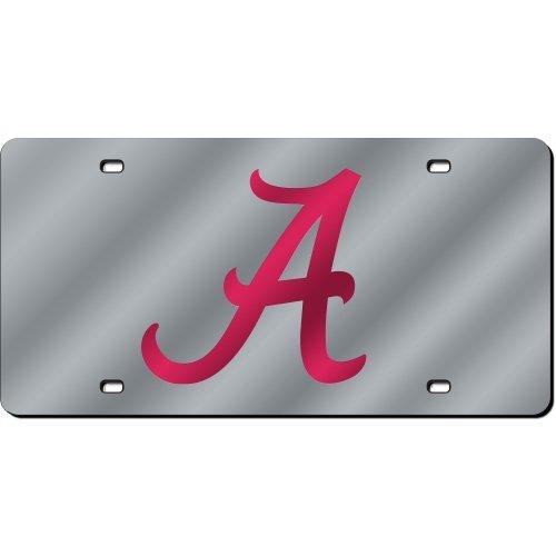 Cut Alabama Crimson Tide Laser - Rico Industries NCAA Alabama Crimson Tide Laser Cut Auto Tag, Silver