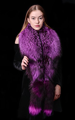 Saga Furs Fluorescent Purple Silver Fox Fur Handmade Wrap Scarf Stole + Tails by Your Furrier