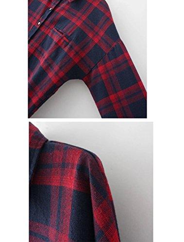 MatchLife Femme Chemise Ecossaise Grandes Tailles Manches Longues Flanelle Rouge+Bleu