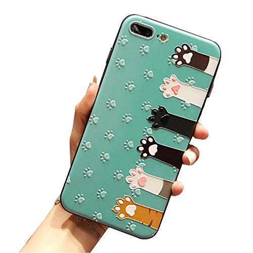 Iphone 7 plus case iphone 8 plus Cover Case Super Cute Cartoon Animal Pattern Soft TPU Bumper Hard PC Back Cover For Girls 360 Degree Protection (cat hands-green-7 plus)]()