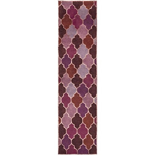 2.5' x 10' Geometric Dance Mauve Burgundy and Purple Eggplant New Zealand Wool Area Throw Rug Runner by Diva At Home