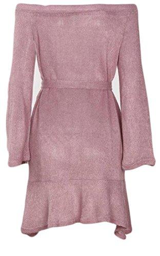 Cromoncent Femmes Manches Longues Ceinturé Tricots De Couleur Unie Au Large Robe Pull Épaule Violet