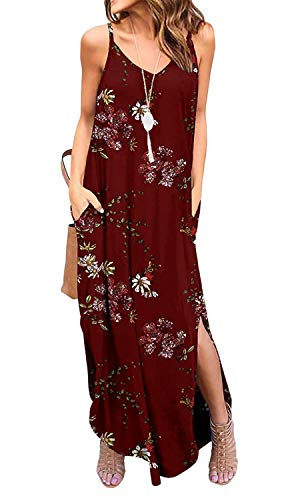 - Silvous Women's Casual Summer Loose Long Dress Beach Cover Up with Pocket (CamiWineRed S)