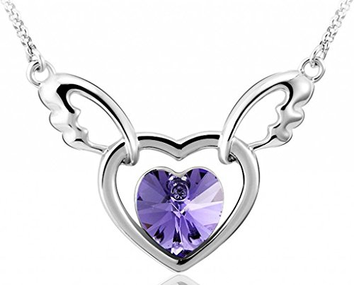 Infinite U Hollow Double Hearts Angel Wing Austrian Crystal Silver Plated Pendant Necklace -3 Colour Options (Purple)