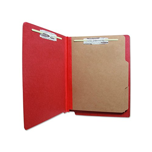 2 Dividers 6 Partitions Letter (Pressboard End Tab Classification Folder with 6 Permclip Fasteners and 2 Natural Kraft Dividers- Ruby Red, Letter Size (15/Box))