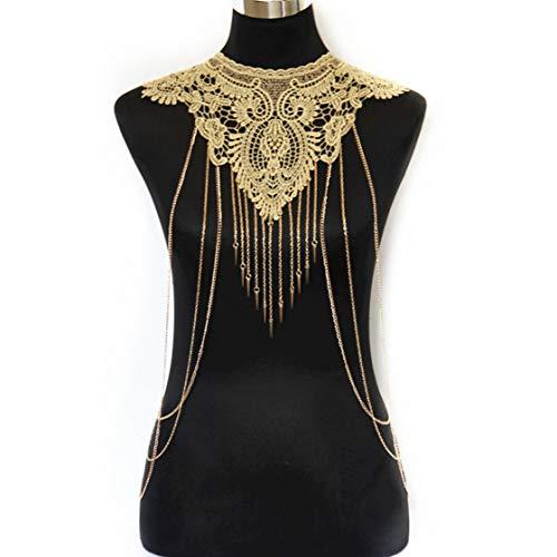 JoJo & Lin Gold Fine Chain Flower Lace Body Chain Bikini Necklace Jewelry (C)