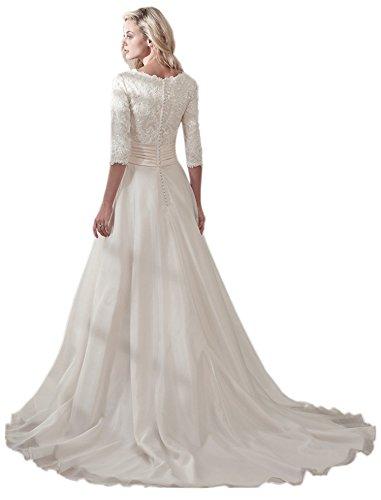 Ikerenwedding - Vestido - trapecio - para mujer blanco