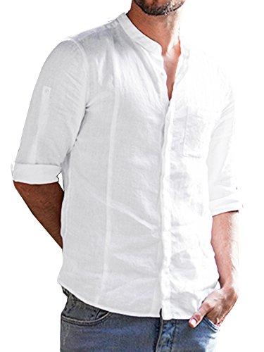 Mens Cotton Linen Shirts Botton Up Summer Casual 3/4 Sleeve Tops