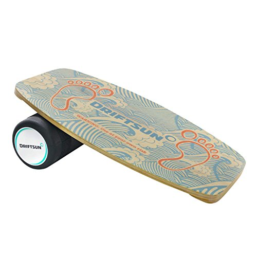 Driftsun Wooden Balance Board - Premium Balance Trainer with Roller for Surf