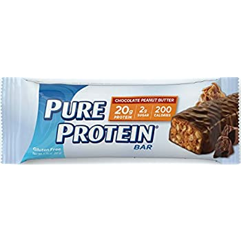 Pure Protein High Protein Bar Chocolate Peanut Butter 1.76-Ounce Bar (Pack of 12), Protein Bars, 20 Grams of Protein, Gluten Free