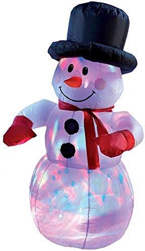 Deko-Figur mit bunten Lichtern Selbstaufblasender Schneemann mit LED Lichterspiel 120 cm inkl f/ür Au/ßen und Innen Spannseilen und Heringen
