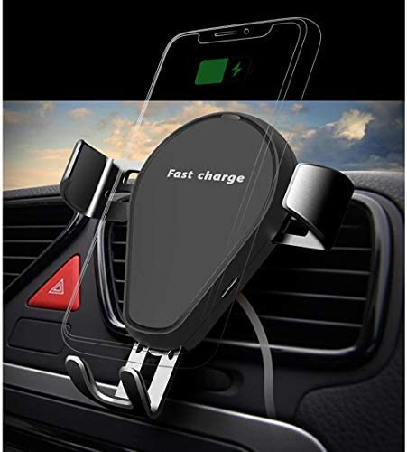 YIKETING の車のワイヤレス充電器クリエイティブ重力携帯電話ホルダーワイヤレスQI高速充電電話マウント (色 : 黒)