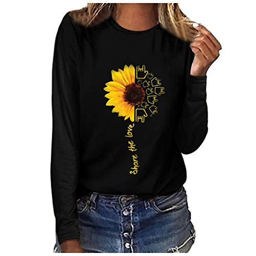 Women's Sunflower Print Long Sleeve Crew Ne Fit Casual Sweatshirtr Tops Shirts Loose Tunic Blouse LIMShop
