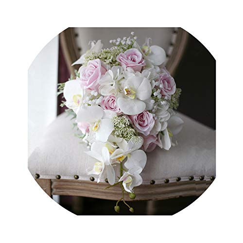 Waterfall Artificial Phalaenopsis Wedding Flowers Bouquets for Brides Droplets Vintage Pink Bridal Bouquet Mariage,Pink White