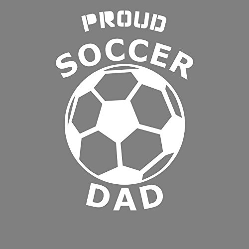WickedGoodz White Soccer Ball Proud Dad Vinyl Decal Transfer - Sports Bumper Sticker - Perfect Soccer Dad Gift