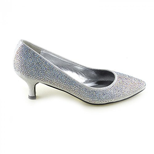 Kick Footwear - Womens Court Heel Diamante Wedding Shoes Ladies Party Glitter Shoes Silver HEOejz7ogL