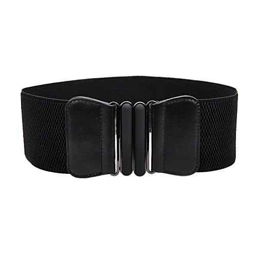 Mujeres De La Manera Damas De Imitacion De Cuero Ancho De Cintura Elastica Hebilla del Cinturon Negro Caliente