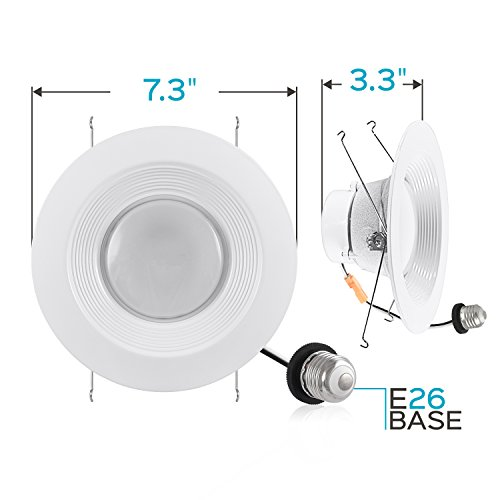 Luxrite 5/6 Inch LED Recessed Light, 15W (120W Equivalent), 5000K Bright White, 1300lm, Dimmable, Retrofit LED Can Light, Energy Star & UL, Damp Rated - Perfect for Kitchen, Bathroom, Office (4 Pack) by Luxrite (Image #4)'