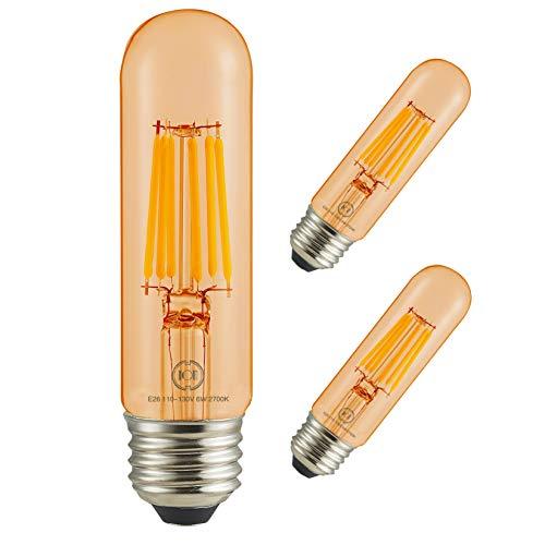 (Led Filament Bulb Tubular Retro Vintage Edison T10 Style, Dimmable, E26 Medium Base, Warm Color Light, 700 Lumens, 60 Watt Incandescent Equivalent (Amber Color Glass, 6 Watt, Pack of 3))